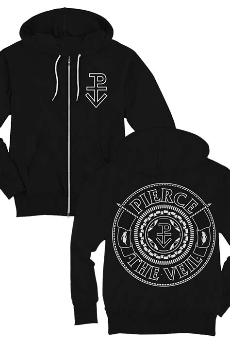 Hoodie Zipper Veil Of Logo Fightmerch seal zip up hoodie 2016 black outerwear the veil outerwear store on district