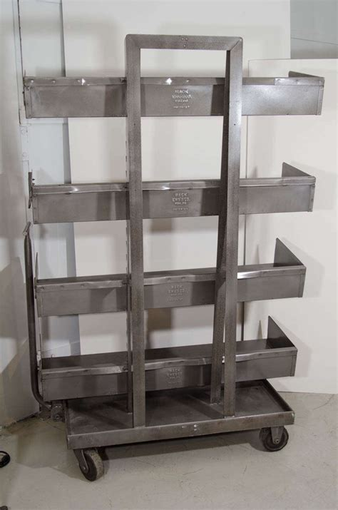 industrial bookcase with wheels for sale at 1stdibs