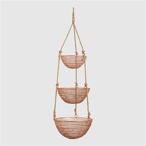 How To Make A Rope Hanging Basket - copper and rope 3 tier hanging basket world market