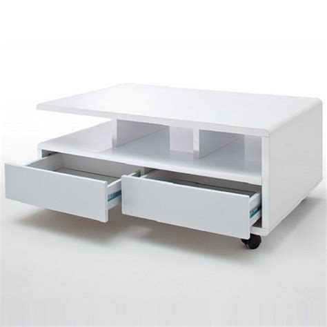 white gloss coffee table with drawers wessex coffee table in white gloss with 2 drawers and 5