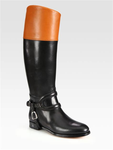 ralph leather boots ralph collection sabella twotone leather