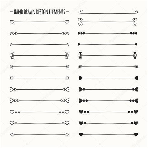 free doodle line brushes vector line border set and scribble design