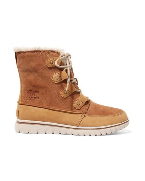 sorel cozy joan faux fur lined suede and nubuck ankle