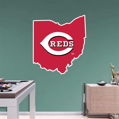 cincinnati reds home decor cincinnati reds state of ohio logo wall decal shop