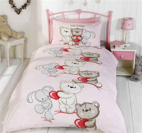 Teddy Bear Bunny Rabbit Kids Quilt Duvet Cover Bunny Bedding Set