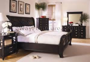 Black Furniture Bedroom American Federal Black Sleigh Bedroom Set