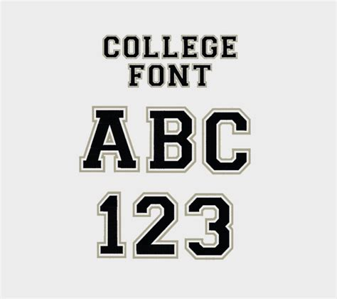 College Letter Font Name College Outline Embroidery Machine Font 1 2 3 4