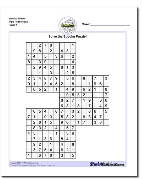printable triple sudoku samurai sudoku triples https www dadsworksheets com