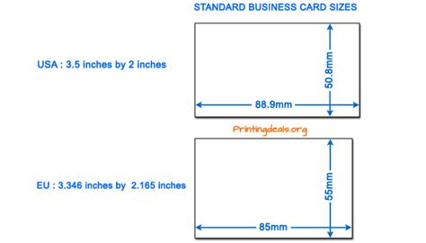 Credit Card Size Printing Template Business Card Sizes