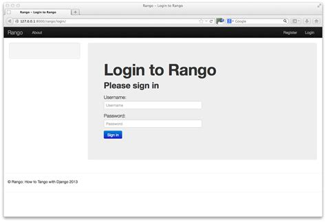 bootstrap login template 13 bootstrapping rango how to with django 1 7