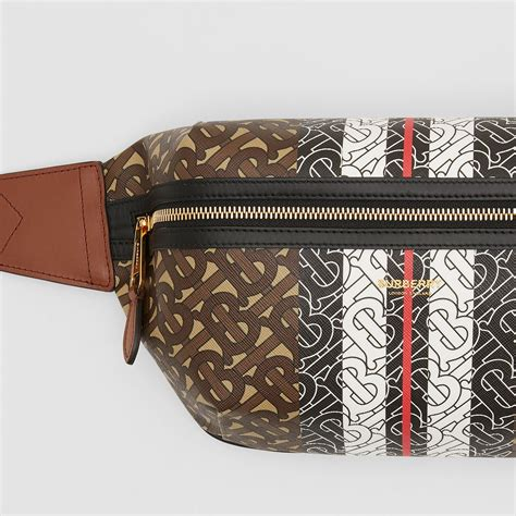 medium monogram stripe  canvas bum bag  brown