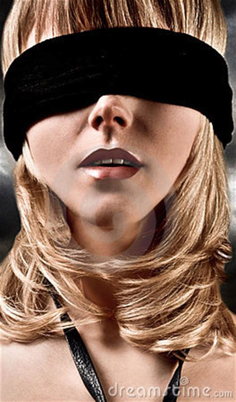 blindfolded blond woman closeup royalty  stock