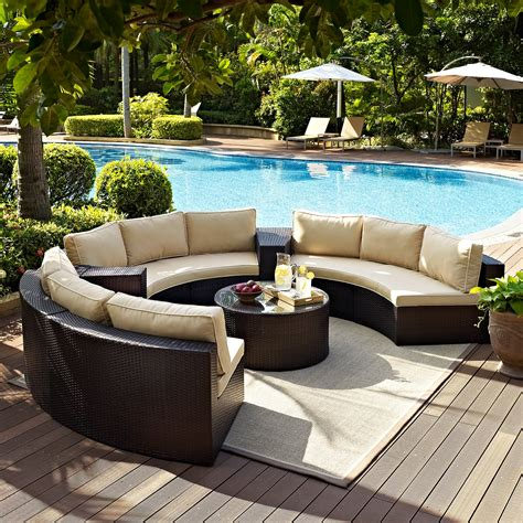 Curved Patio Furniture Set Crosley 6 Outdoor Wicker Curved Conversation Set Conversation Patio Sets At