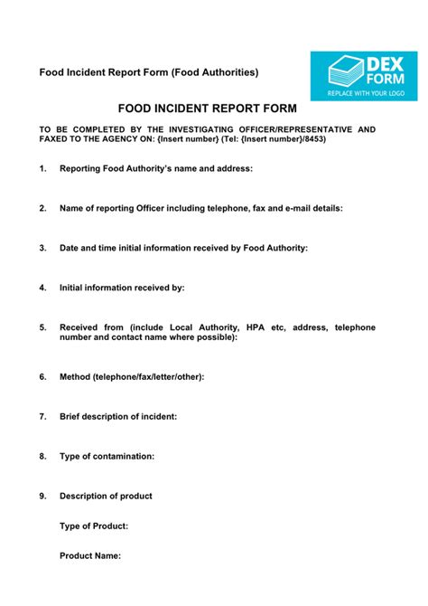 Incident Report Exle For Food Industry Food Incident Report Form Uk In Word And Pdf Formats