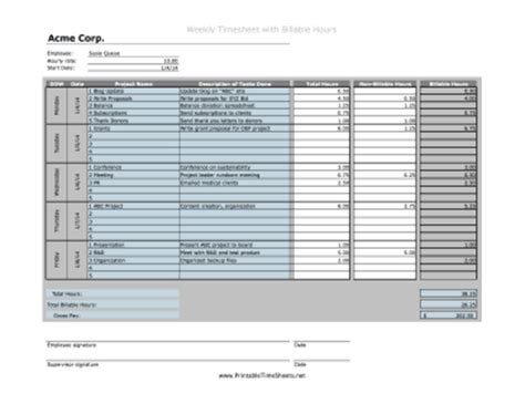 Weekly Projects Billable Hours Printable Time Sheet Billable Hours Template