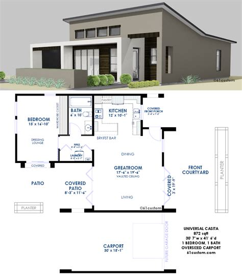 plan house contemporary casita plan small modern house plan