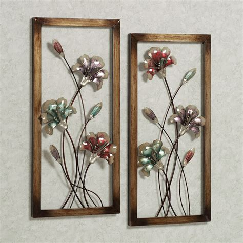 great metal wall decor flowers decorating ideas images in garden whispers floral metal wall art panel set