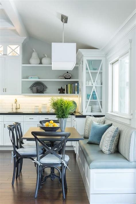 Lovely eat in kitchen is filled with a built in dining