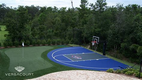 Backyard Putting Green With Sports Turn Integration For A Basketball Court Backyard