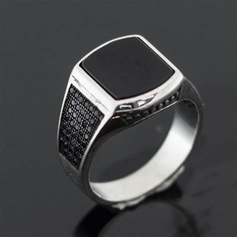 Mens Silver Ring With Black by Silver Rings For With Www Pixshark