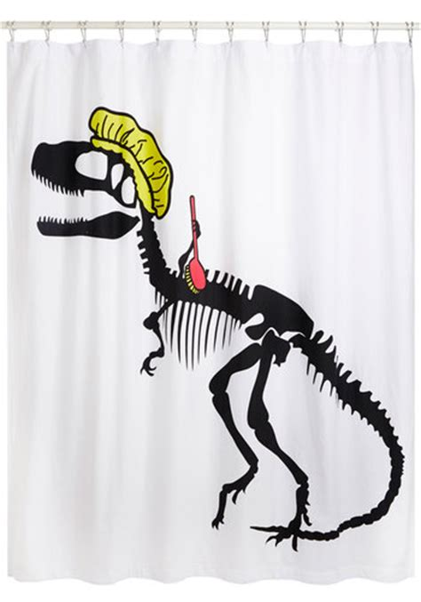 t rex bathroom clean of the stone age shower curtain mod retro vintage