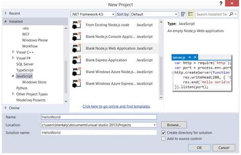 javascript tutorial msdn getting started with node js and visual studio bruno