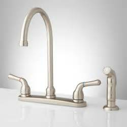 sanibel lever handle gooseneck kitchen faucet with spray