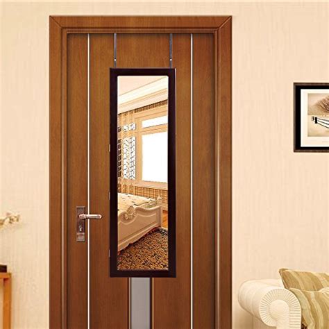 lighted over the door jewelry armoire brown lockable lighted mirrored wall mounted over the