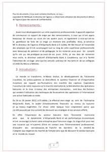 Lettre De Presentation Banque Rapport De Stage Attijariwafa Bank