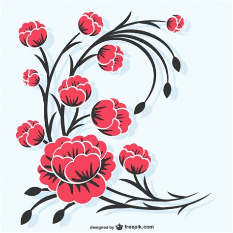 imagenes de flores rojas para dibujar ilustraci 243 n de flores rojas descargar vectores gratis