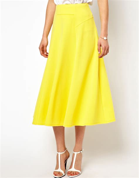 asos midi skirt with stitch waist detail in yellow lyst