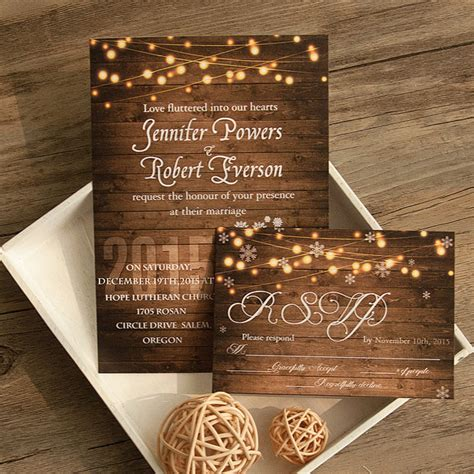 rustic string lights rustic stringlight snowflake winter wedding invitation
