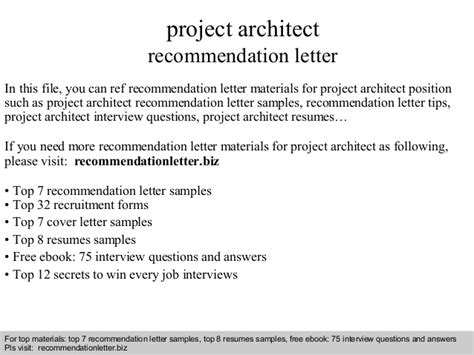 Recommendation Letter For Architect Employee Project Architect Recommendation Letter