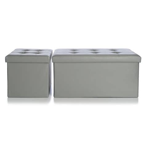gray faux leather storage bench simply store faux leather collapsible 30 quot storage bench