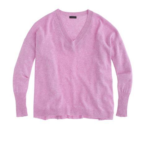 Boyfriend Purple j crew collection boyfriend v neck sweater in purple hthr lilac lyst