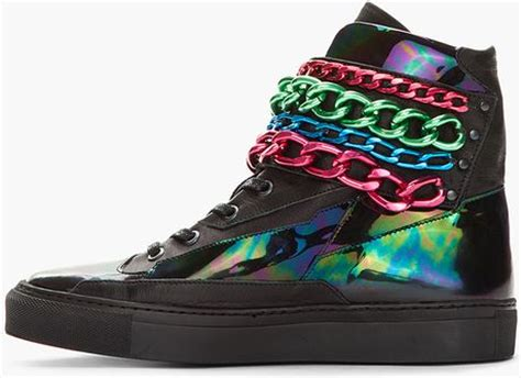 raf simons black holographic tricolor chained velcro sneakers in black for lyst
