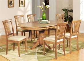 Light Oak Dining Room Chairs by 7 Pc Avon Oval Dinette Kitchen Dining Table W 6
