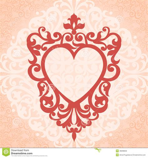 heart pattern frame vector victorian ornamental border stock vector image