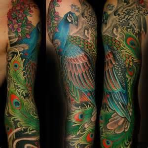 full arm sleeve peacock tattoo tattoos