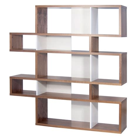 walnut white modern bookcase eurway