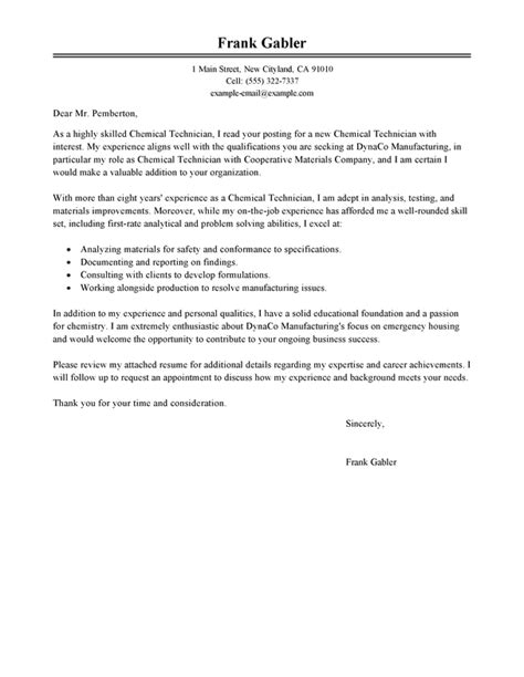 cover letter for a chemistry best chemical technicians cover letter exles livecareer