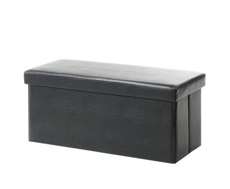 black faux leather ottoman della black faux leather ottoman