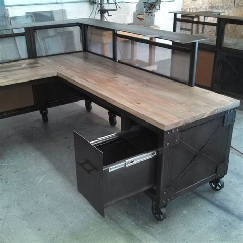 Custom L Shaped Desk Custom Reception Desk L Shaped Desk Steel And Beetle Kill Pine Desk Reclaimed Wood And Metal
