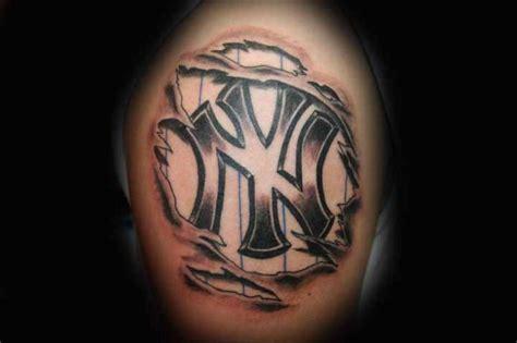 new york tattoo black and grey new york yankees grey ink logo biceps tattoo tattooshunt com