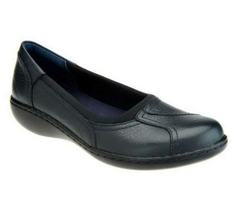 qvc clarks shoes quot as is quot clarks bendables ashland leather slip on shoes