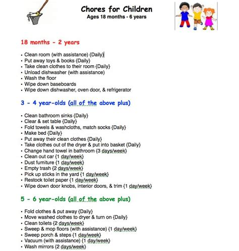 chore charts for 6 year olds yahoo image search results as 8 melhores imagens em diy projects no pinterest