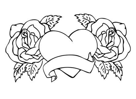 Hearts And Roses Coloring Pages Printable | adult rose flowers hearts and roses coloring pages