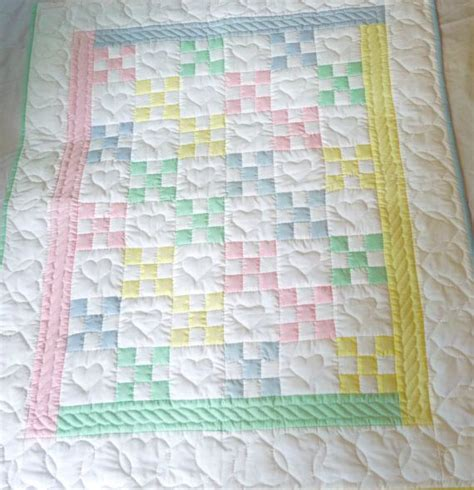 Handmade Quilt Patterns - amish baby quilt traditional nine patch by