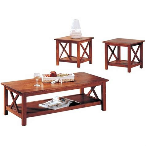 coaster 5907 brown wood coffee table set a sofa