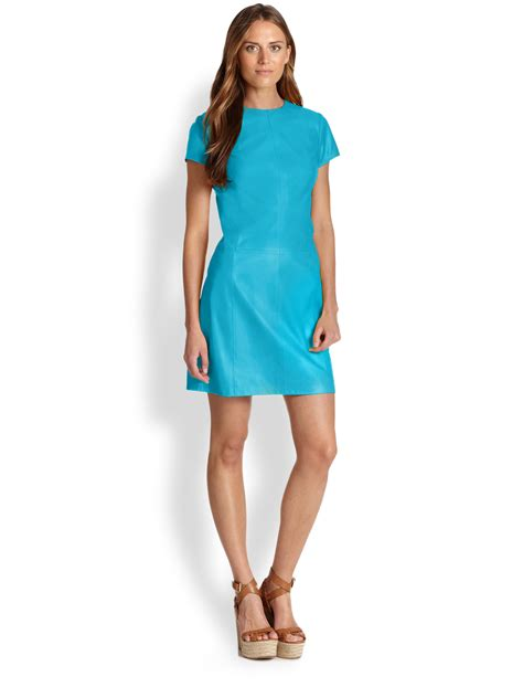 Rl Dress Glowing Blue ralph blue label elmina leather a line dress in blue lyst